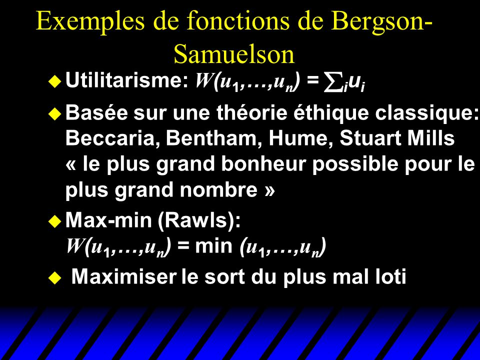 Comparer l'utilitarisme et le max-min u2u2 u1u1 u 1 = u 2 Ensemble des utilités possibles