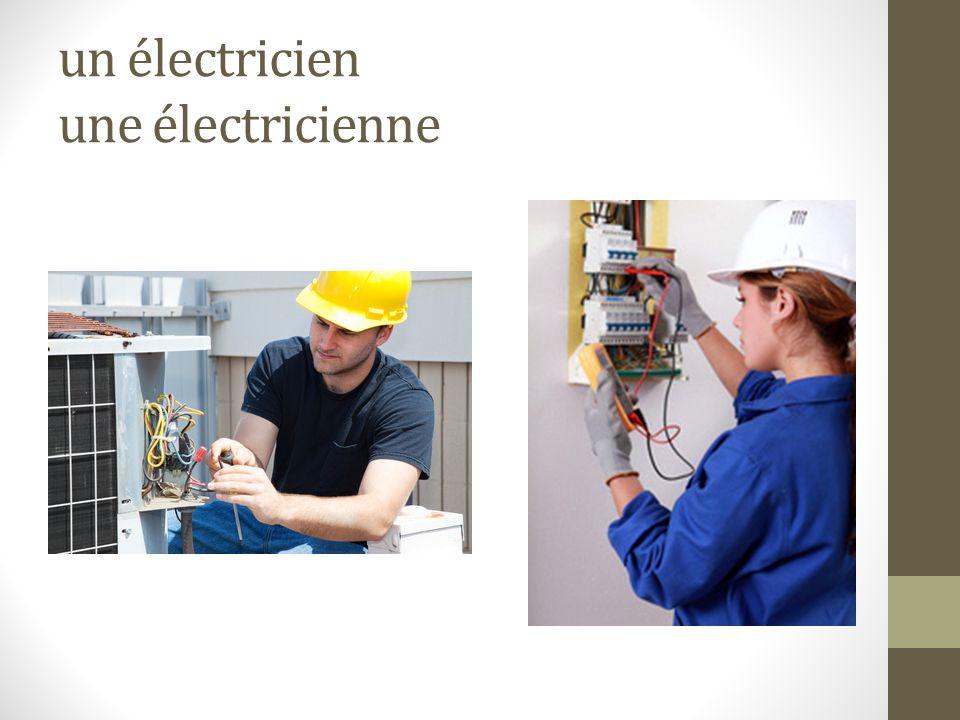 un électricien une électricienne