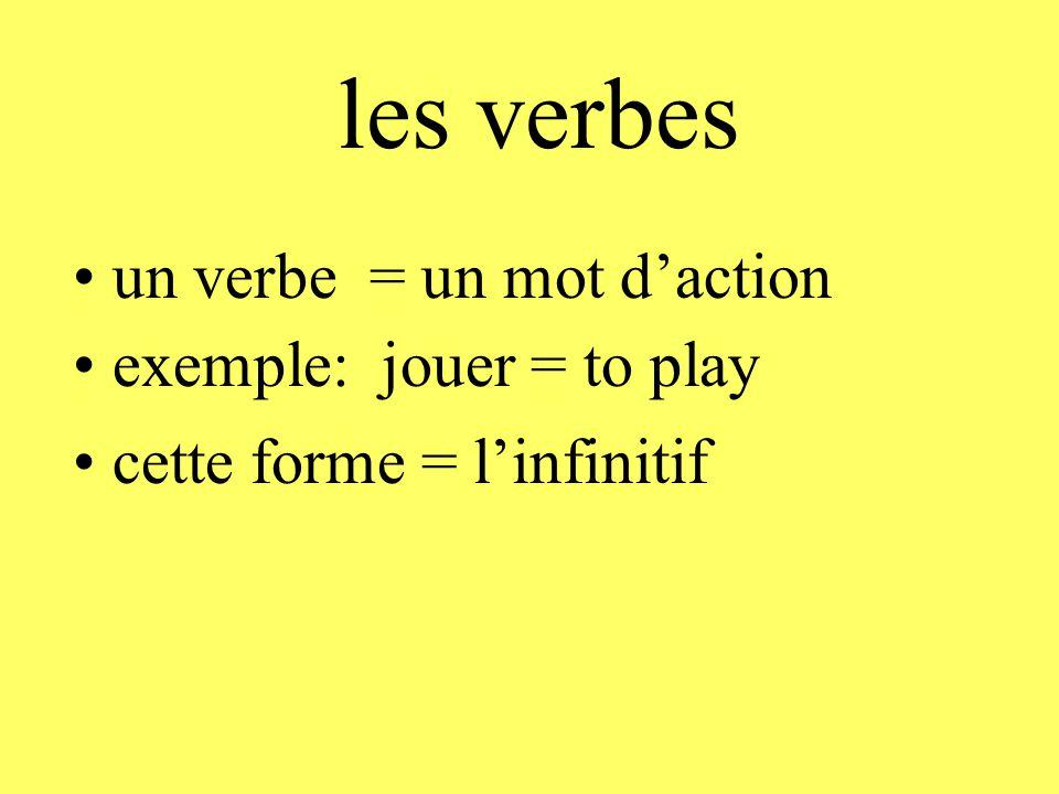 les verbes • un verbe = un mot d'action • exemple: jouer = to play • cette forme = l'infinitif