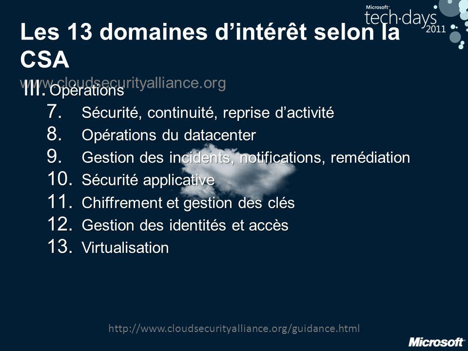 Les 13 domaines d'intérêt selon la CSA www.cloudsecurityalliance.org III. Opérations 7. Sécurité, continuité, reprise d'activité 8. Opérations du data