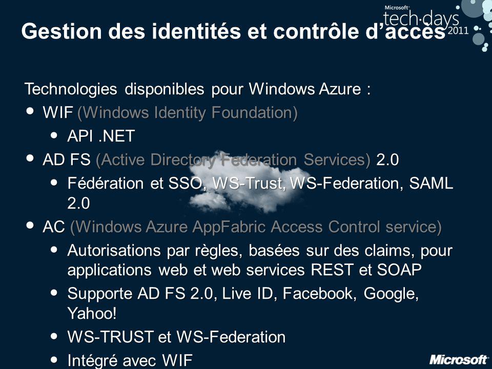Gestion des identités et contrôle d'accès Technologies disponibles pour Windows Azure : • WIF (Windows Identity Foundation) • API.NET • AD FS (Active