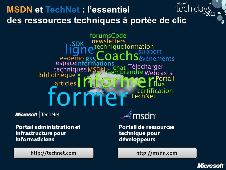 MSDN et TechNet : l'essentiel des ressources techniques à portée de clic http://technet.com http://msdn.com Portail administration et infrastructure p