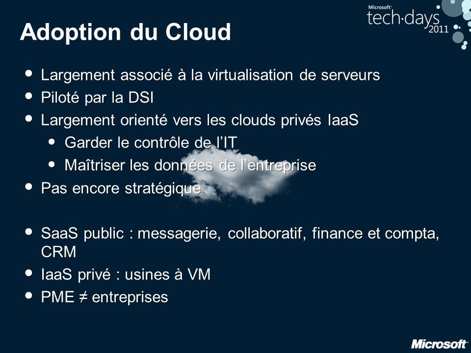 Adoption du Cloud • Largement associé à la virtualisation de serveurs • Piloté par la DSI • Largement orienté vers les clouds privés IaaS • Garder le