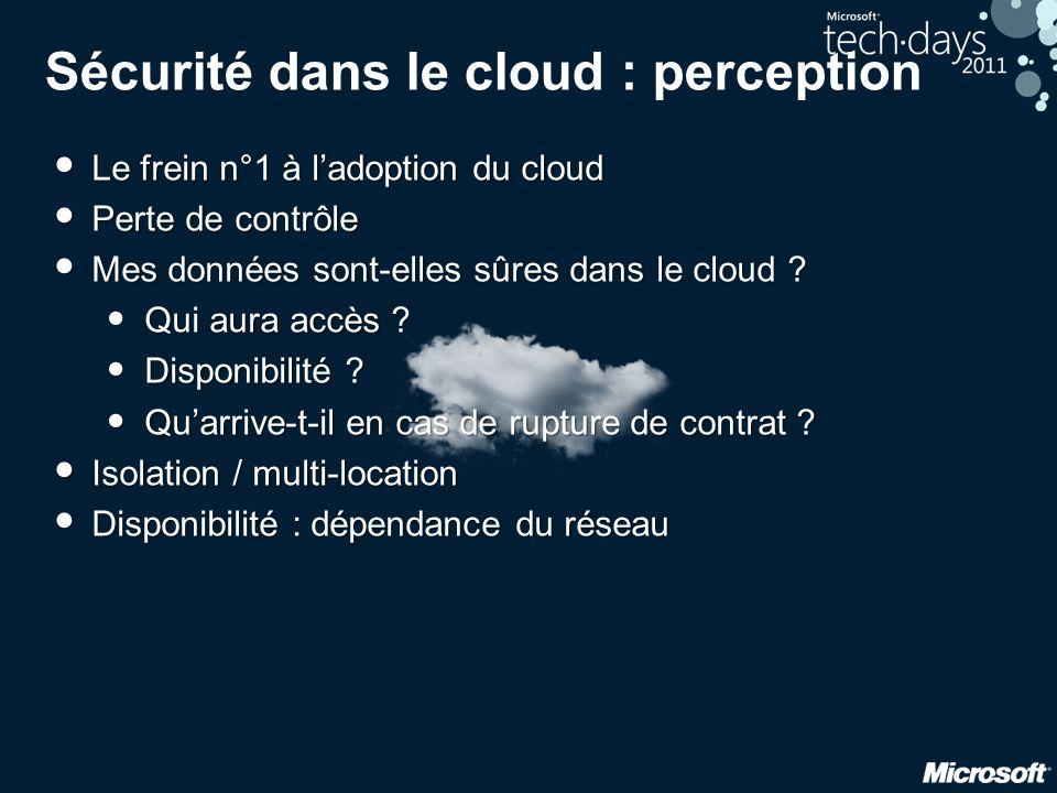 Sécurité dans le cloud : perception • Le frein n°1 à l'adoption du cloud • Perte de contrôle • Mes données sont-elles sûres dans le cloud ? • Qui aura