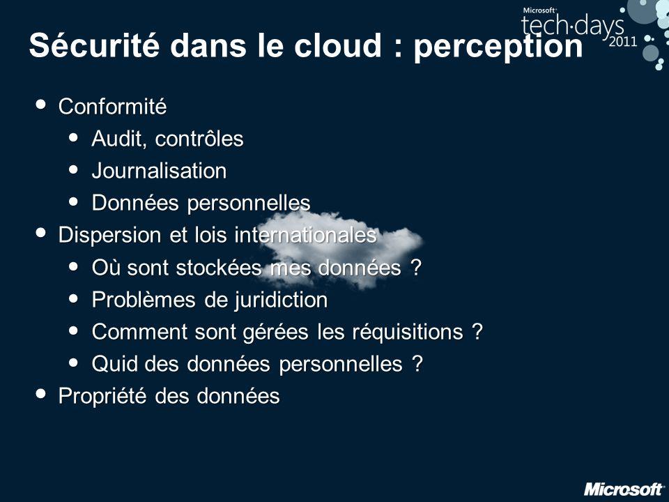 Sécurité dans le cloud : perception • Conformité • Audit, contrôles • Journalisation • Données personnelles • Dispersion et lois internationales • Où