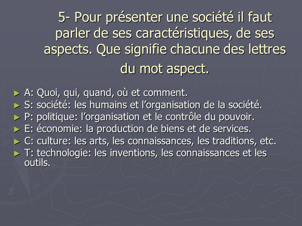 5- Pour présenter une société il faut parler de ses caractéristiques, de ses aspects. Que signifie chacune des lettres du mot aspect. ► A: Quoi, qui,