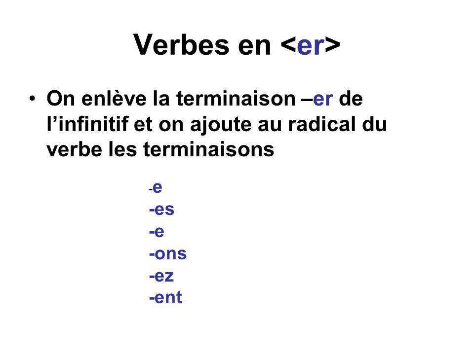 Verbes en •On enlève la terminaison –er de l'infinitif et on ajoute au radical du verbe les terminaisons - e -es -e -ons -ez -ent