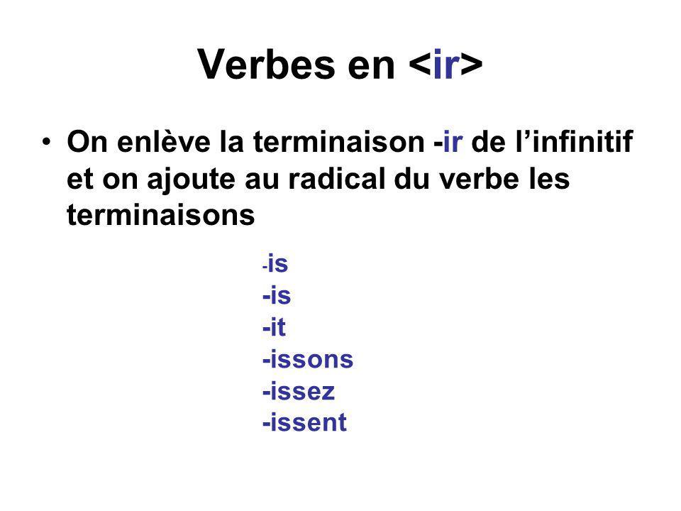 Verbes en •On enlève la terminaison -ir de l'infinitif et on ajoute au radical du verbe les terminaisons - is -it -issons -issez -issent