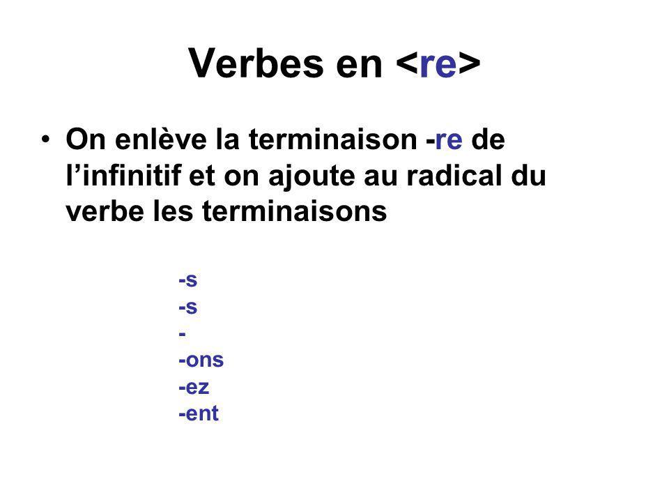 Verbes en •On enlève la terminaison -re de l'infinitif et on ajoute au radical du verbe les terminaisons -s - -ons -ez -ent
