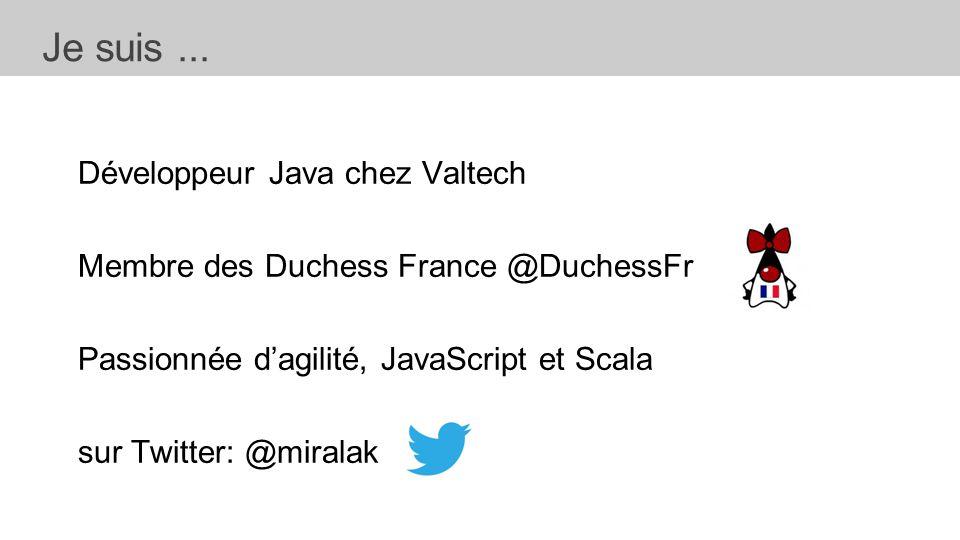 Développeur Java chez Valtech Membre des Duchess France @DuchessFr Passionnée d'agilité, JavaScript et Scala sur Twitter: @miralak Je suis...