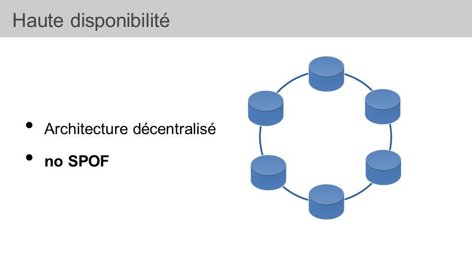 • Architecture décentralisé • no SPOF Haute disponibilité