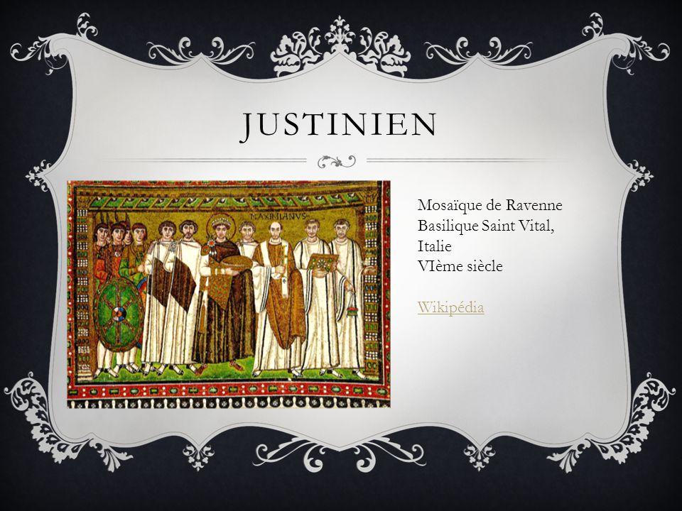 JUSTINIEN Mosaïque de Ravenne Basilique Saint Vital, Italie VIème siècle Wikipédia