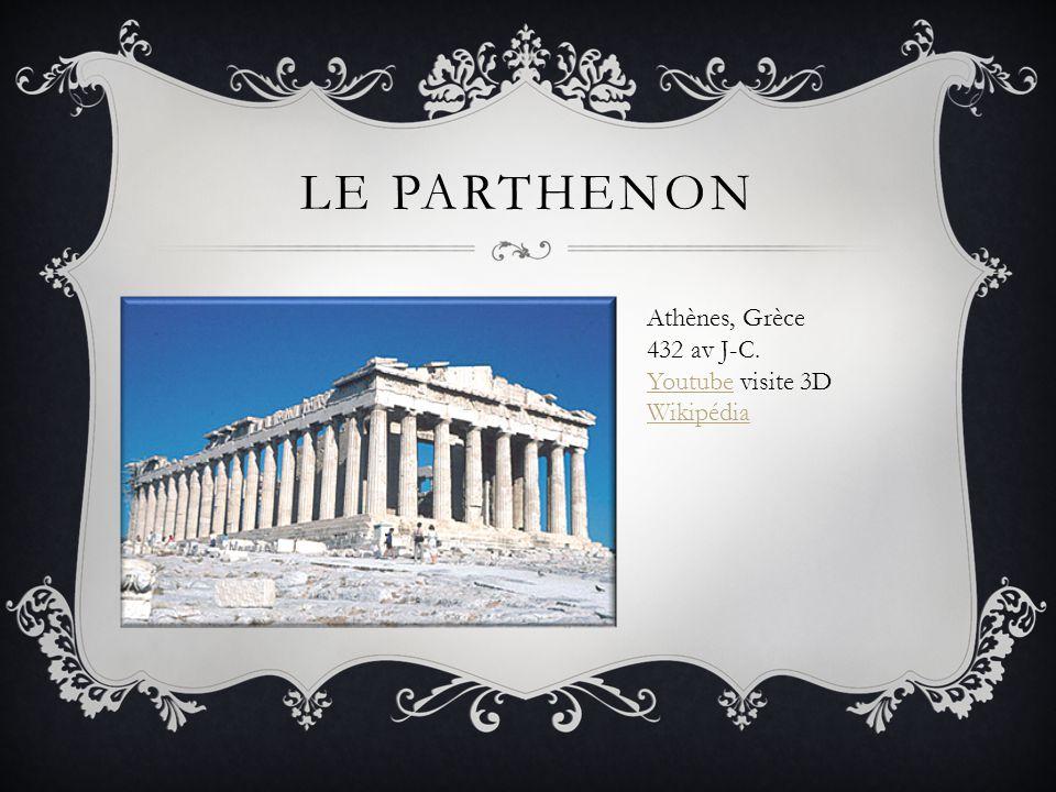 LE PARTHENON Athènes, Grèce 432 av J-C. YoutubeYoutube visite 3D Wikipédia