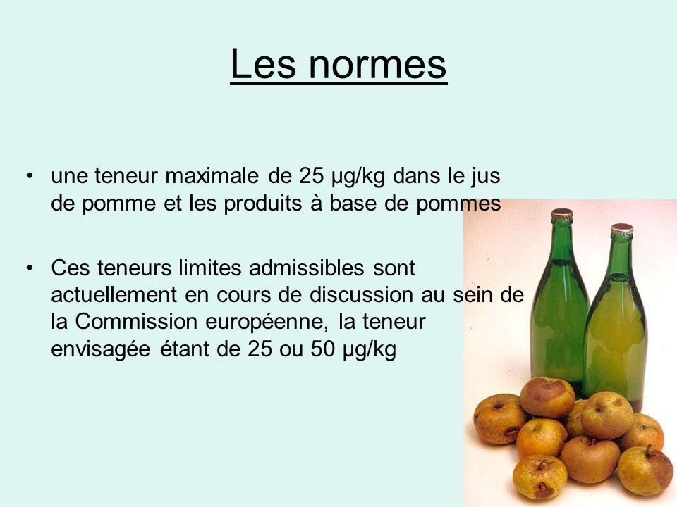Les normes •une teneur maximale de 25 µg/kg dans le jus de pomme et les produits à base de pommes •Ces teneurs limites admissibles sont actuellement e