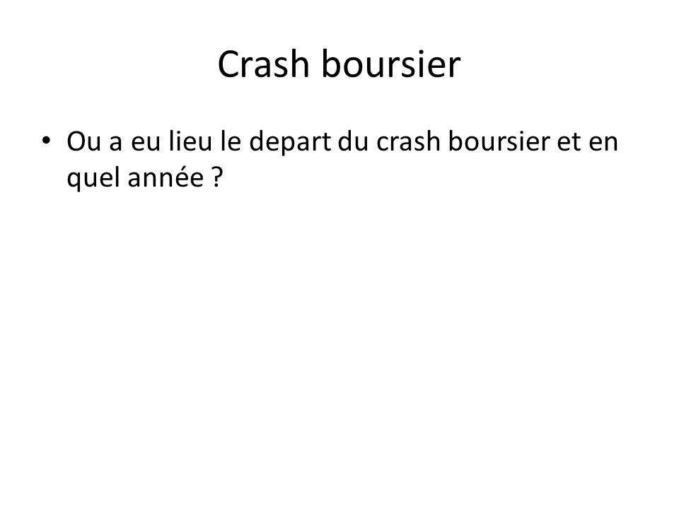 Crash boursier • Ou a eu lieu le depart du crash boursier et en quel année ?