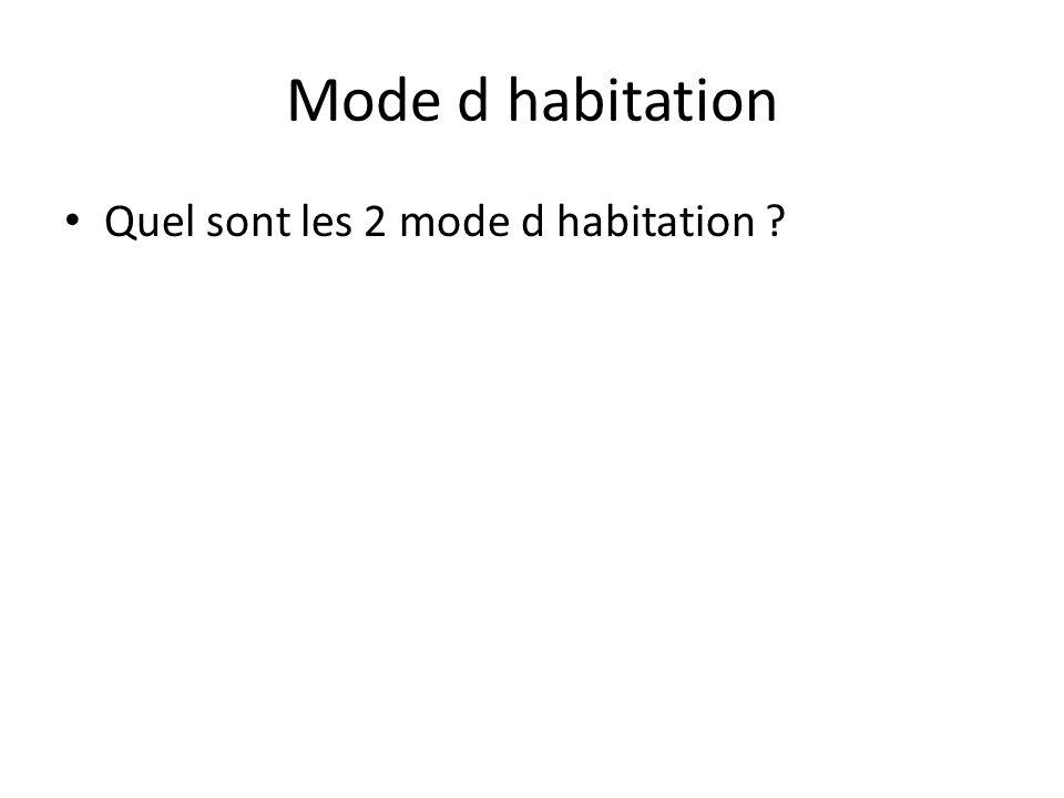 Mode d habitation • Quel sont les 2 mode d habitation ?