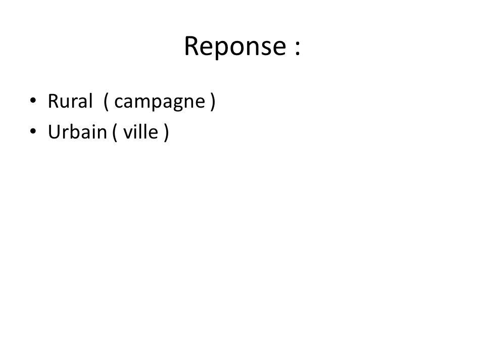 Reponse : • Rural ( campagne ) • Urbain ( ville )