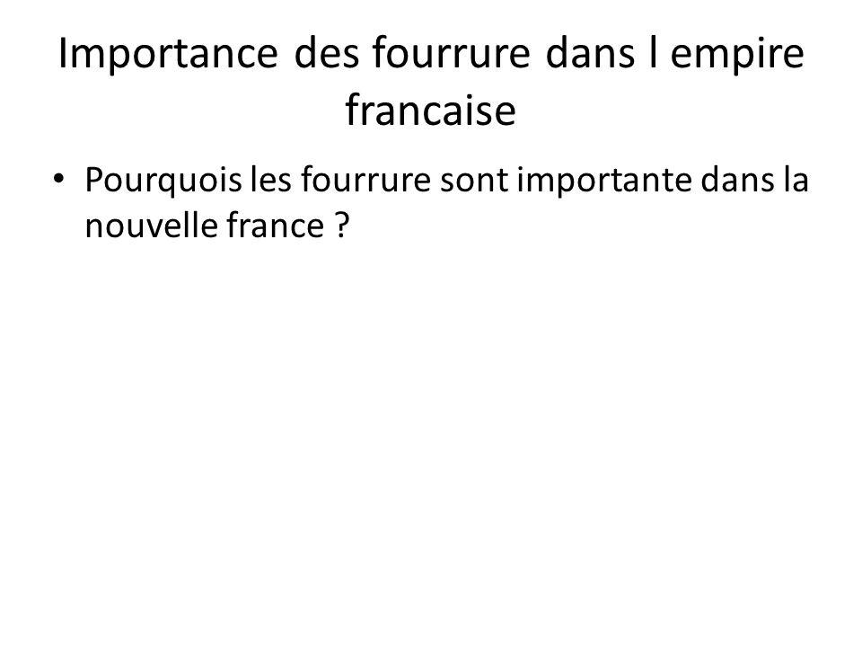 Importance des fourrure dans l empire francaise • Pourquois les fourrure sont importante dans la nouvelle france ?
