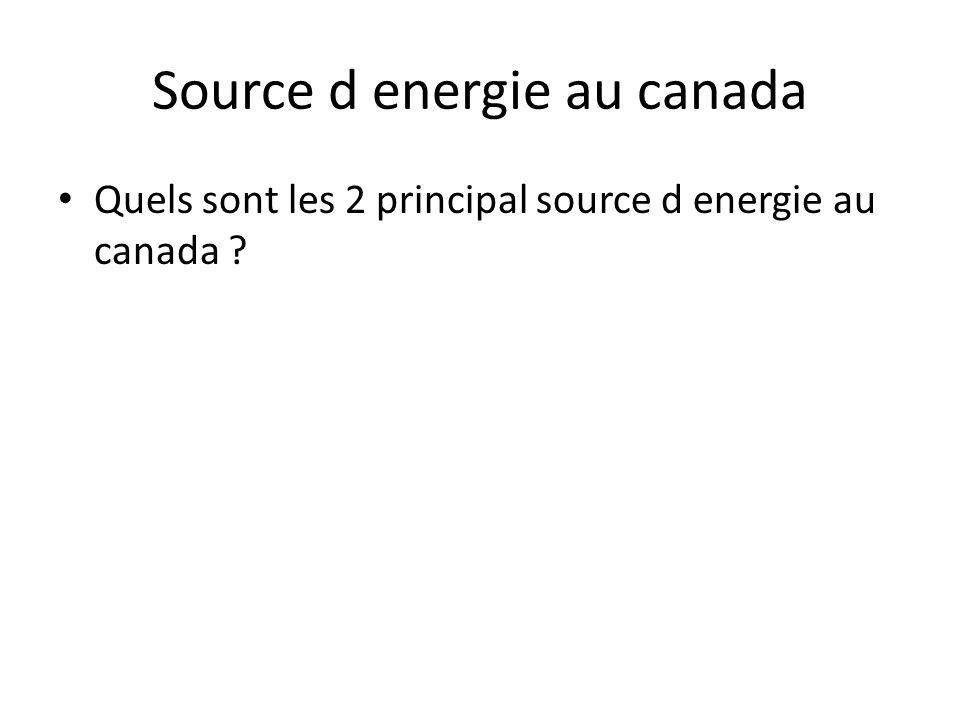 Source d energie au canada • Quels sont les 2 principal source d energie au canada ?