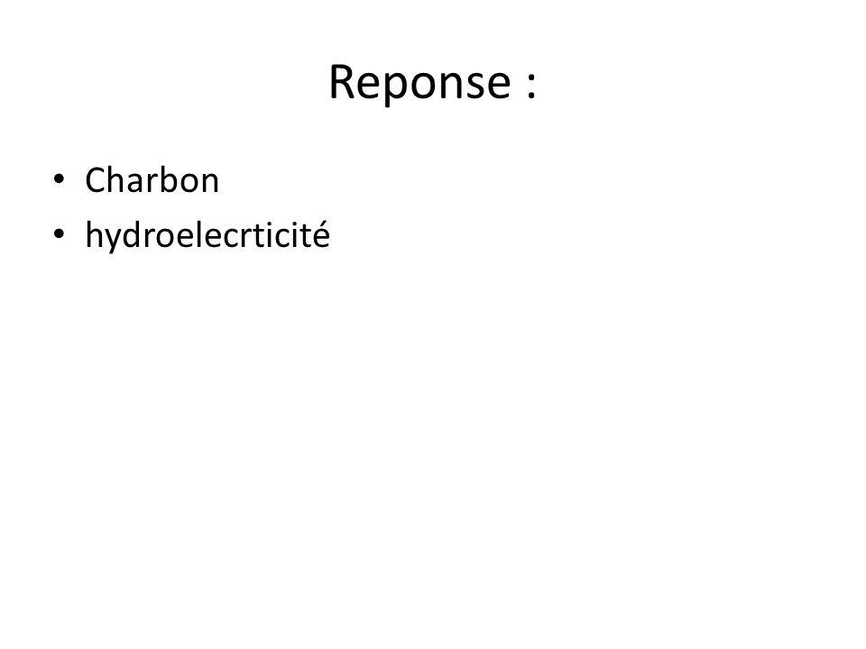 Reponse : • Charbon • hydroelecrticité