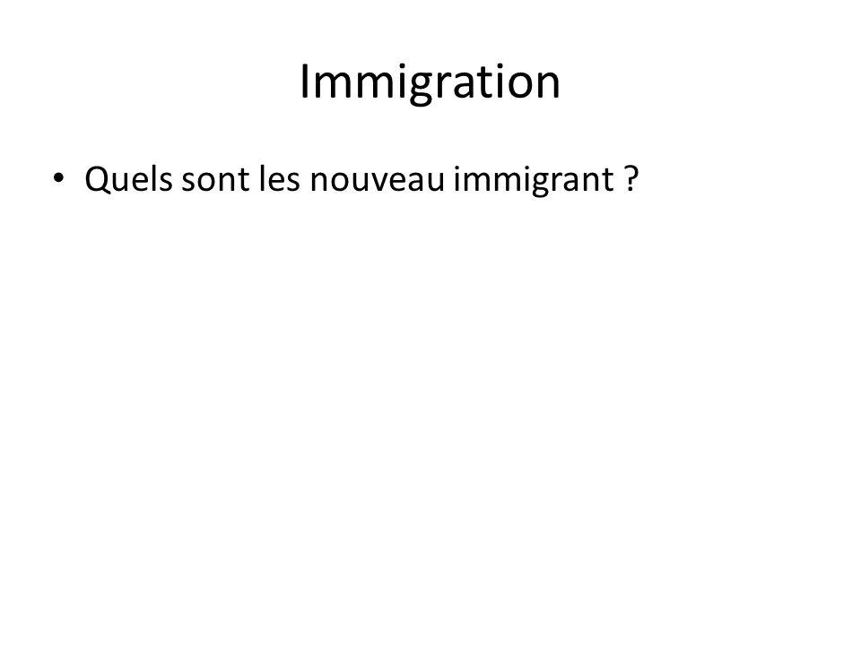 Immigration • Quels sont les nouveau immigrant ?