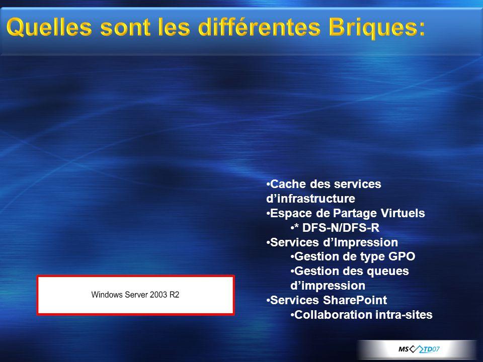 •Cache des services d'infrastructure •Espace de Partage Virtuels •* DFS-N/DFS-R •Services d'Impression •Gestion de type GPO •Gestion des queues d'impression •Services SharePoint •Collaboration intra-sites