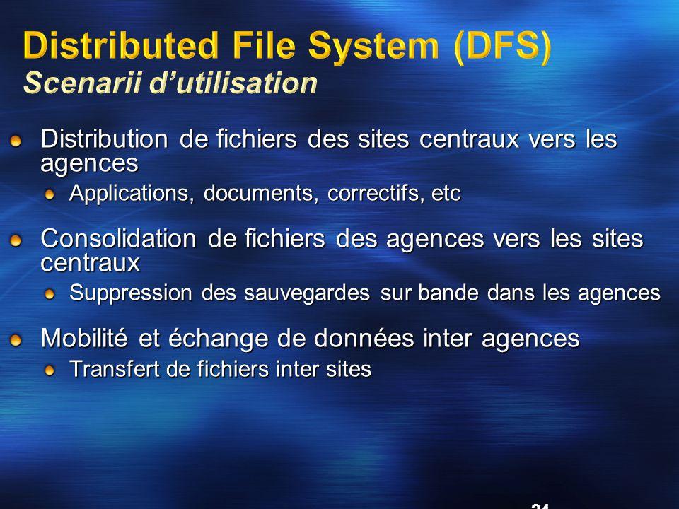 24 Distribution de fichiers des sites centraux vers les agences Applications, documents, correctifs, etc Consolidation de fichiers des agences vers les sites centraux Suppression des sauvegardes sur bande dans les agences Mobilité et échange de données inter agences Transfert de fichiers inter sites