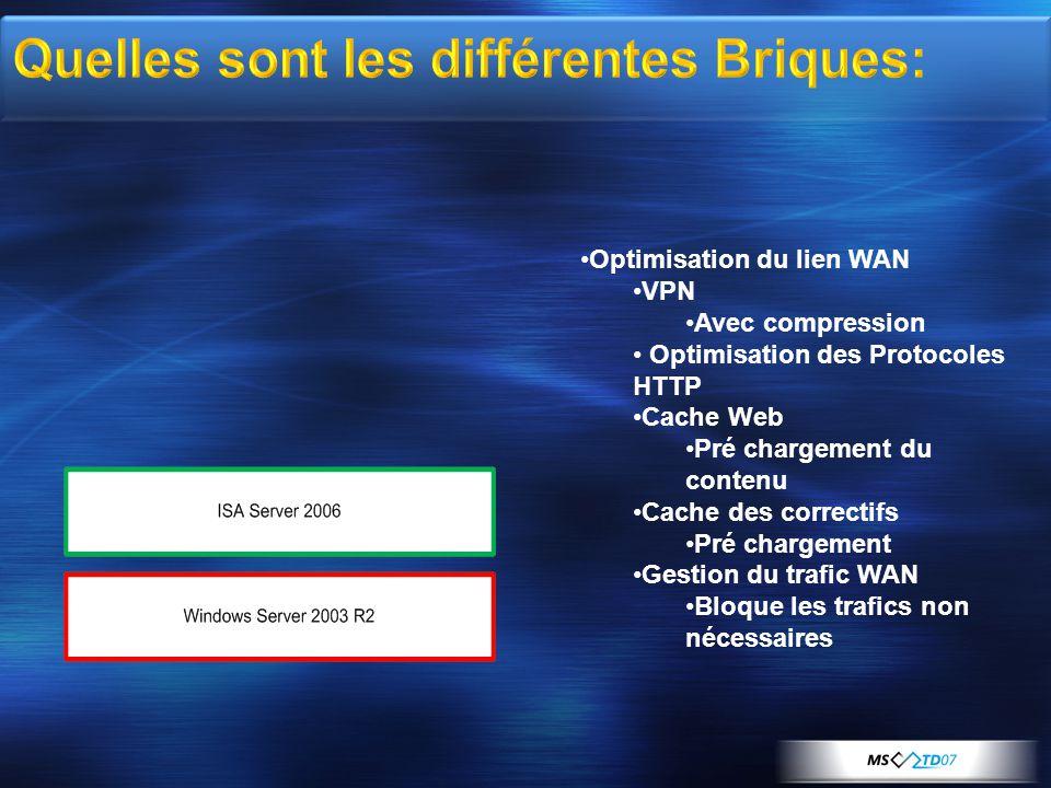 •Optimisation du lien WAN •VPN •Avec compression • Optimisation des Protocoles HTTP •Cache Web •Pré chargement du contenu •Cache des correctifs •Pré chargement •Gestion du trafic WAN •Bloque les trafics non nécessaires