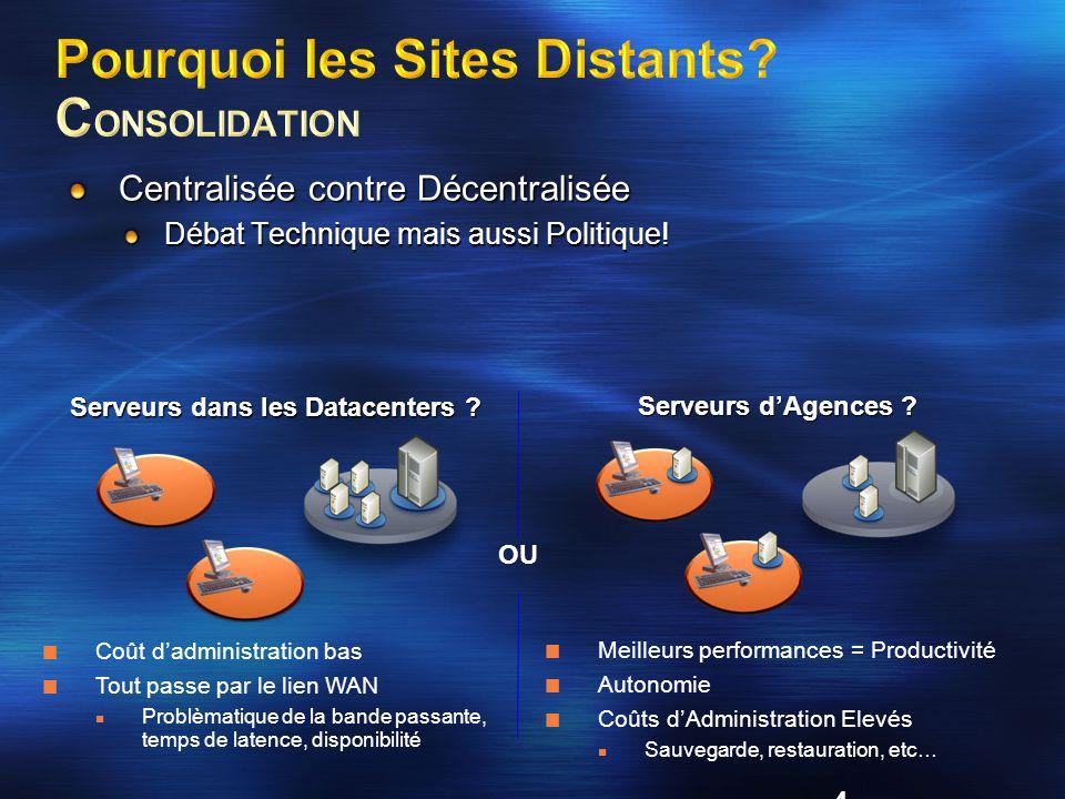25 Utilisateur en agence Toulouse Utilisateur en agence Lille Serveur en agence Toulouse Serveur en agence Lille Espace de noms DFS 2 2 1 1 Serveur du Datacenter Paris Réplication DFS 3X