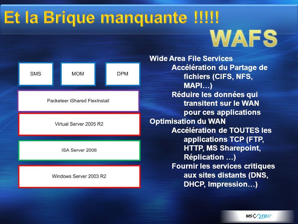 Wide Area File Services Accélération du Partage de fichiers (CIFS, NFS, MAPI…) Réduire les données qui transitent sur le WAN pour ces applications Optimisation du WAN Accélération de TOUTES les applications TCP (FTP, HTTP, MS Sharepoint, Réplication …) Fournir les services critiques aux sites distants (DNS, DHCP, Impression…)