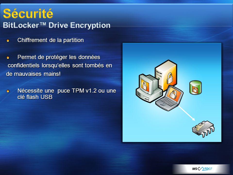 Chiffrement de la partition Permet de protéger les données confidentiels lorsqu'elles sont tombés en confidentiels lorsqu'elles sont tombés en de mauvaises mains.