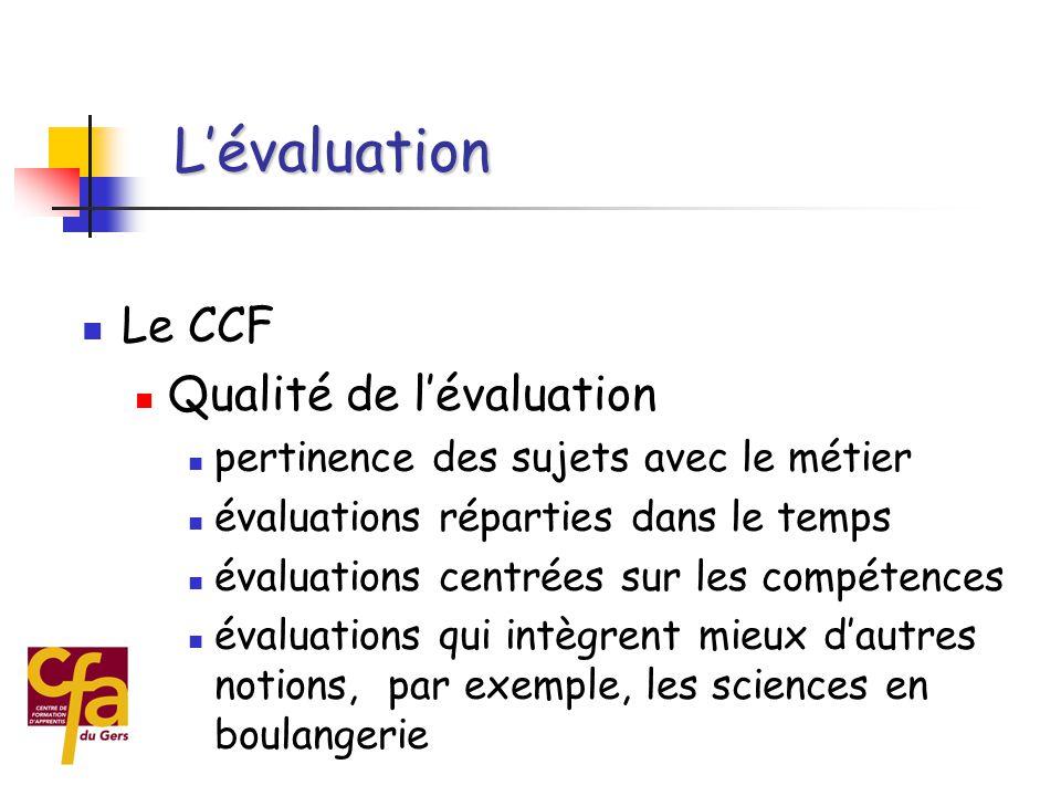  Organisation des examens ponctuels  concentration sur 3 à 4 semaines  mise en place de moyens complémentaires pour « faire tourner » le CFA  coût des examens important L'évaluation