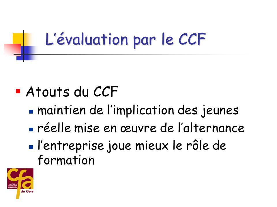  Organisation du CCF  étalement sur les 2 années de formation  mise en place avec les moyens disponibles  pas de surcoût des examens, pour la partie professionnelle, réalisation comme un TP « normal » L'évaluation