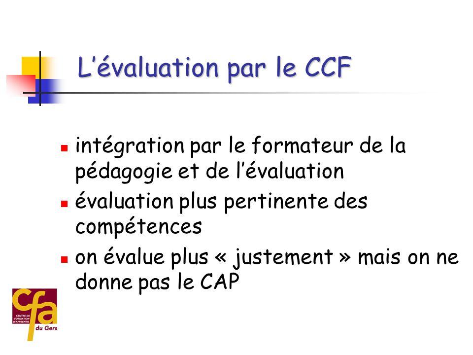  Atouts du CCF  maintien de l'implication des jeunes  réelle mise en œuvre de l'alternance  l'entreprise joue mieux le rôle de formation L'évaluation par le CCF