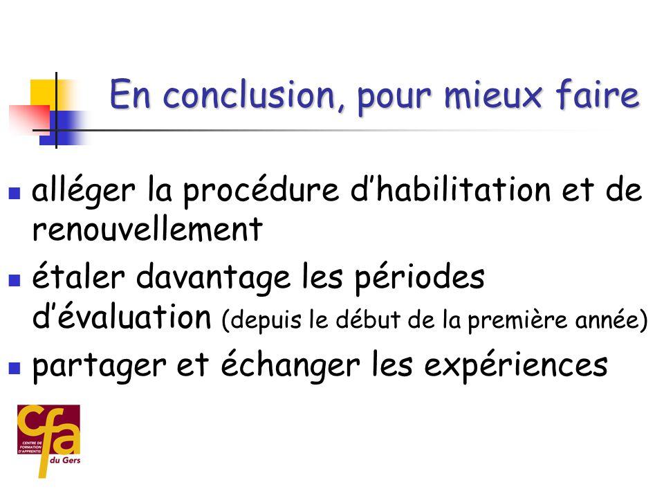  pour améliorer la qualité de la formation par la mise en place du CCF  il faut se lancer  même au début, les évaluations sont plus pertinentes qu'en « ponctuel »  on peut rôder le système lors de la mise en place En conclusion