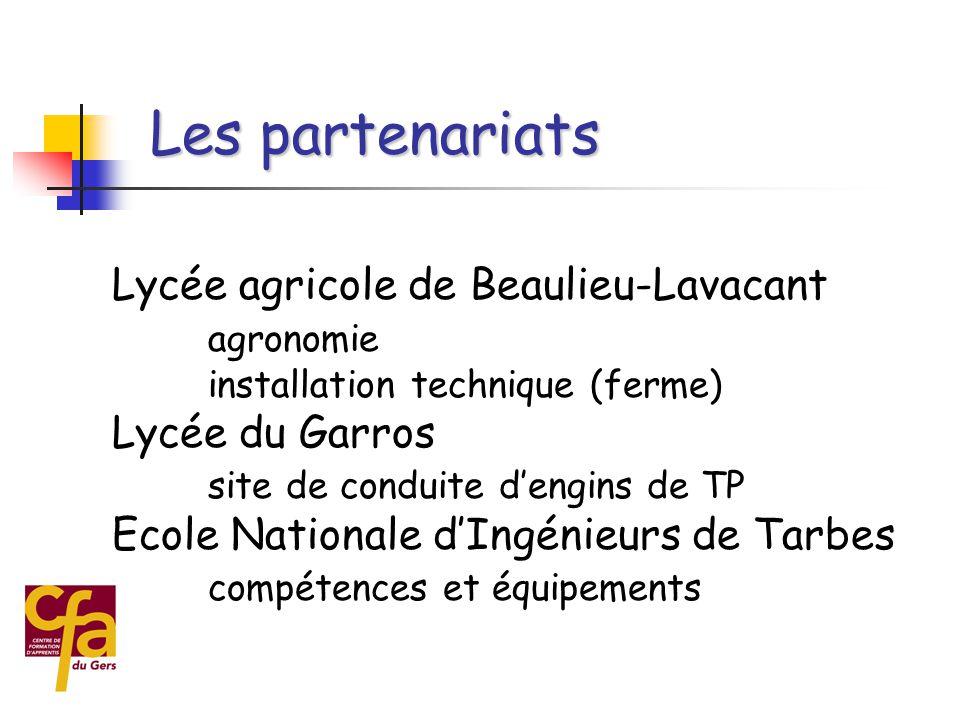 Lycée agricole de Beaulieu-Lavacant agronomie installation technique (ferme) Lycée du Garros site de conduite d'engins de TP Ecole Nationale d'Ingénieurs de Tarbes compétences et équipements Les partenariats