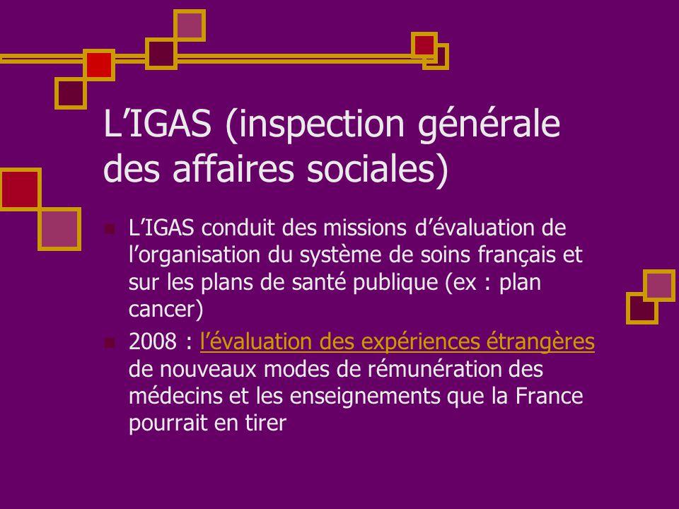 L'IGAS (inspection générale des affaires sociales)  L'IGAS conduit des missions d'évaluation de l'organisation du système de soins français et sur le