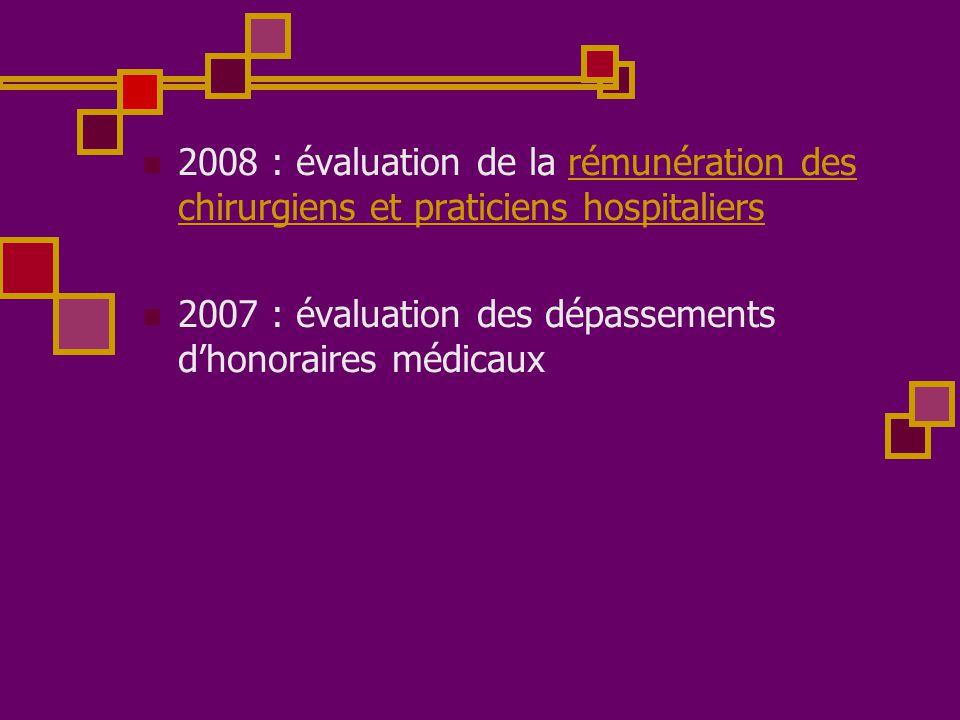  2008 : évaluation de la rémunération des chirurgiens et praticiens hospitaliersrémunération des chirurgiens et praticiens hospitaliers  2007 : éval