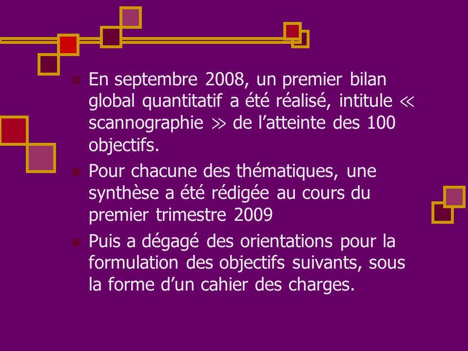  En septembre 2008, un premier bilan global quantitatif a été réalisé, intitule ≪ scannographie ≫ de l'atteinte des 100 objectifs.  Pour chacune des