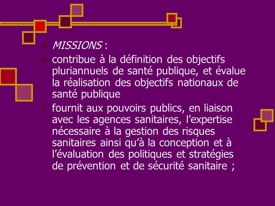  MISSIONS :  contribue à la définition des objectifs pluriannuels de santé publique, et évalue la réalisation des objectifs nationaux de santé publi