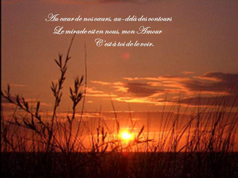 Au cœur de nos cœurs, au-delà des contours Le miracle est en nous, mon Amour C'est à toi de le voir.