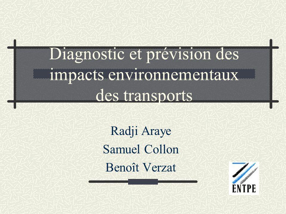 Diagnostic et prévision des impacts environnementaux des transports Radji Araye Samuel Collon Benoît Verzat