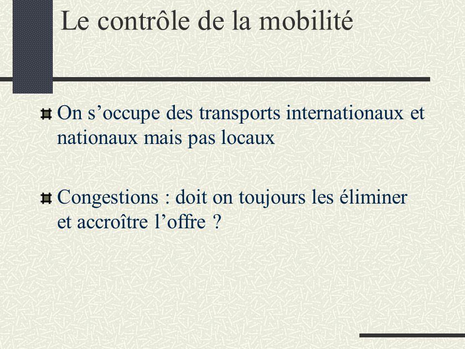Le contrôle de la mobilité On s'occupe des transports internationaux et nationaux mais pas locaux Congestions : doit on toujours les éliminer et accro
