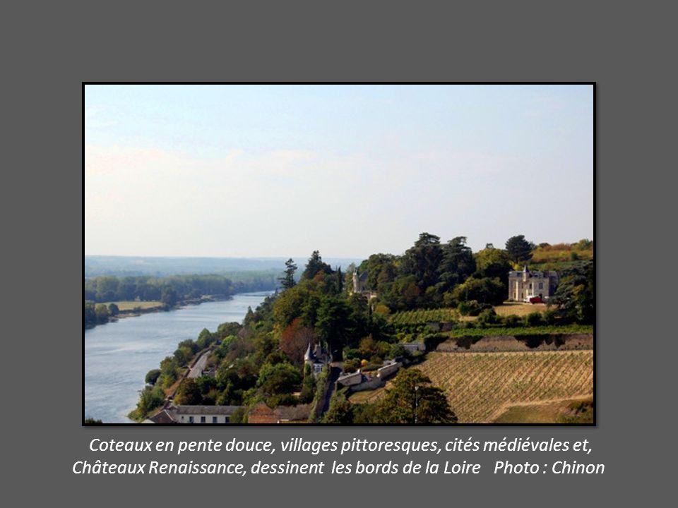 Coteaux en pente douce, villages pittoresques, cités médiévales et, Châteaux Renaissance, dessinent les bords de la Loire Photo : Chinon