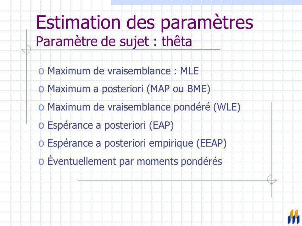 Estimation des paramètres Paramètre de sujet : thêta o Maximum de vraisemblance : MLE o Maximum a posteriori (MAP ou BME) o Maximum de vraisemblance p
