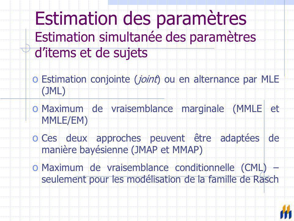 Estimation des paramètres Estimation simultanée des paramètres d'items et de sujets o Estimation conjointe (joint) ou en alternance par MLE (JML) o Ma