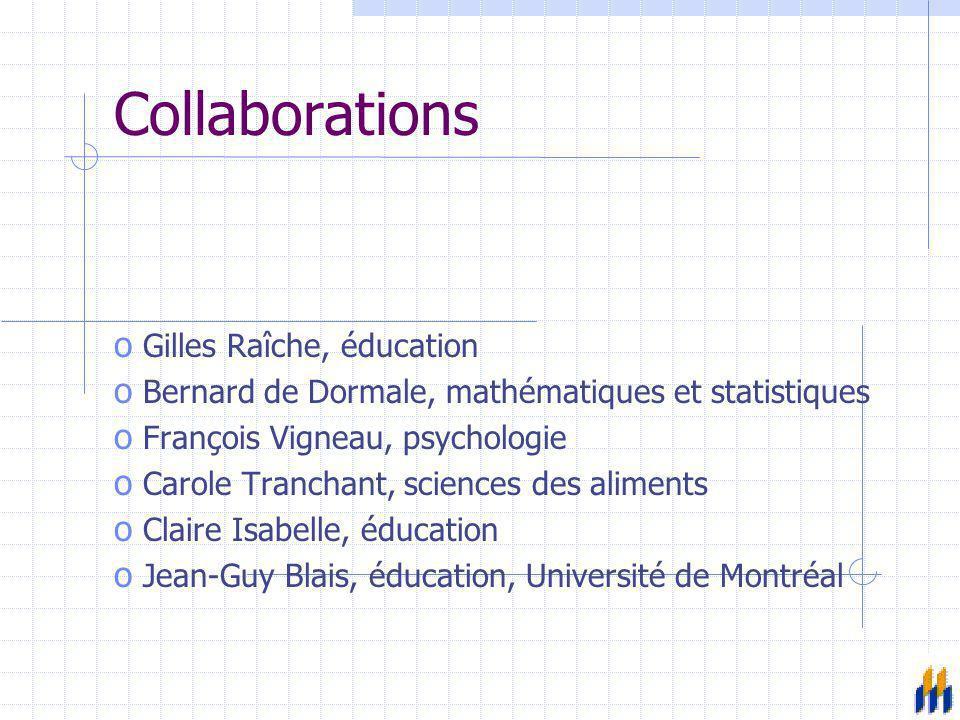 Collaborations o Gilles Raîche, éducation o Bernard de Dormale, mathématiques et statistiques o François Vigneau, psychologie o Carole Tranchant, scie
