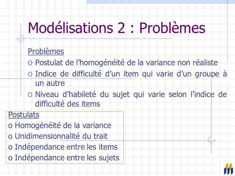 Modélisations 3 : Après 1960 o Théorie du trait latent -> Théorie de la réponse à l'item o Frederic Lord et Georg Rasch Postulats oHétérogénéité de la variance oUnidimensionnalité du trait (multidimensionnalité toutefois possible) oIndépendance locale oIndépendance de la réponse d'un item à un autre oInvariance du niveau de difficulté par rapport aux sujets oInvariance du niveau d'habileté par rapport aux items