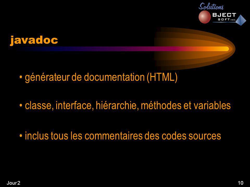 Jour 210 javadoc • générateur de documentation (HTML) • classe, interface, hiérarchie, méthodes et variables • inclus tous les commentaires des codes sources