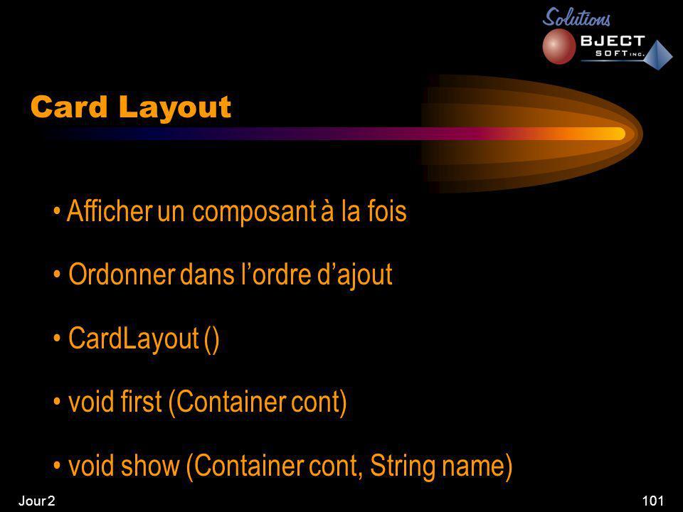 Jour 2101 Card Layout • Afficher un composant à la fois • Ordonner dans l'ordre d'ajout • CardLayout () • void first (Container cont) • void show (Container cont, String name)